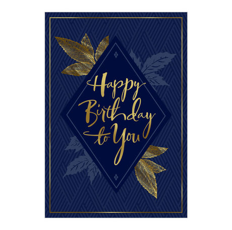 Birthday Card (Gold & Navy) for Business