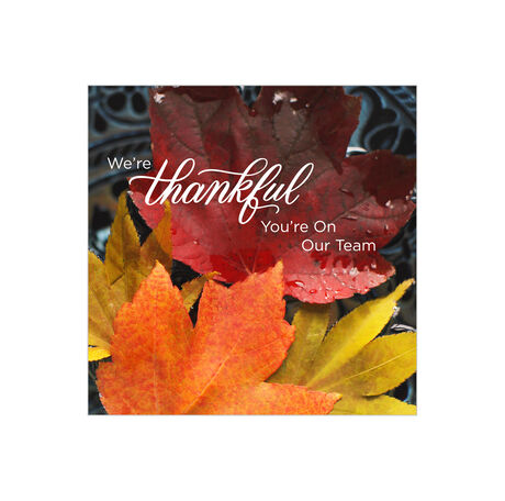 Thankful Team Fall Leaves Business Thanksgiving Card