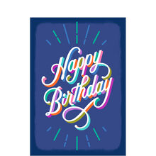 Multicolor Birthday on Blue Business Hallmark Card