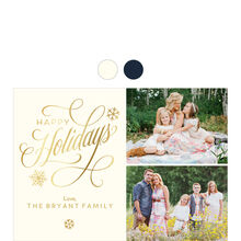Elegant and Shining Happy Holidays Hallmark Photo Collage Card