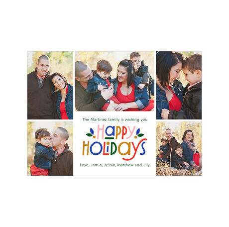 Colorful Happy Holidays Photo Collage Hallmark Card