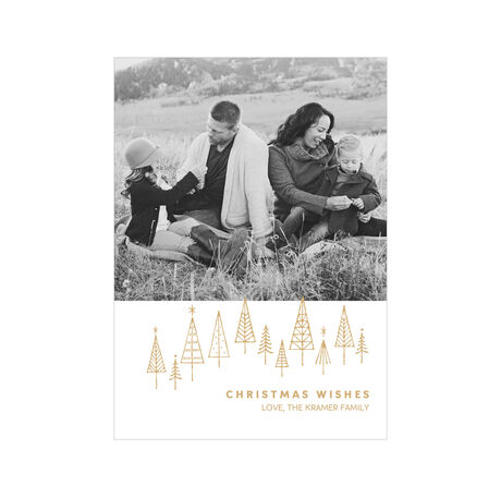 Gold Forest Wishes Hallmark Christmas Photo Card