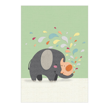 Cut-Paper Elephants Baby Business Hallmark Card