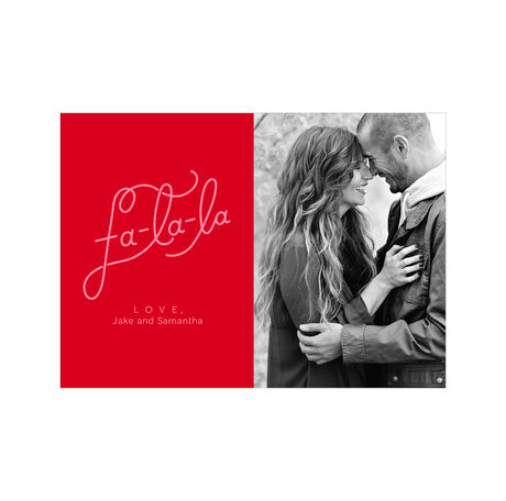 Fa-La-La on Red Hallmark Holiday Photo Card