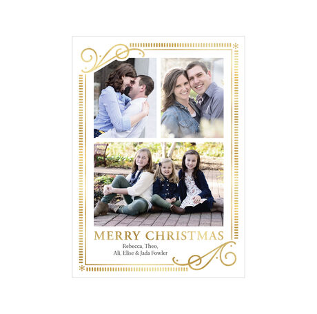 Elegantly Framed Merry Christmas Photo Collage Hallmark Card