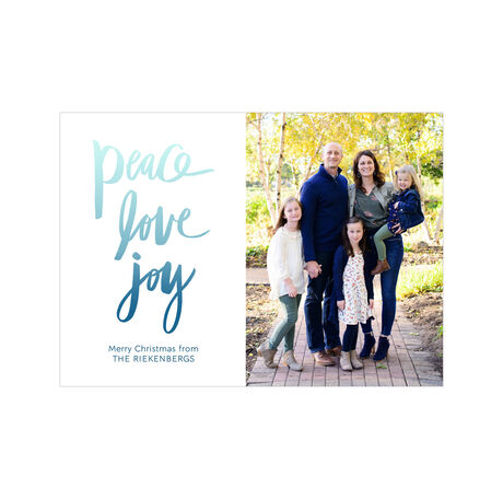 Peace, Love, Joy in Blue Ombré Hallmark Holiday Photo Card