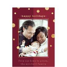 Shining Dots & Red Happy Holidays Photo Card