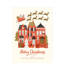 Santa's Sleigh Over Town Design Your Own Hallmark Christmas Card
