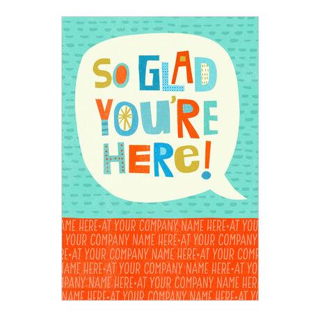 So Glad Welcome Custom Cover Business Hallmark Card