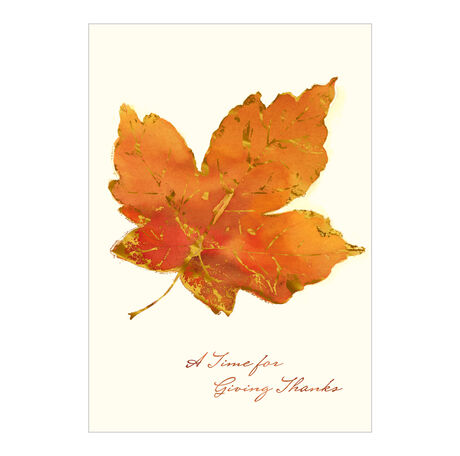 Thanksgiving Card (Orange Leaf, Giving Thanks) for Business