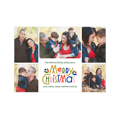 Colorful Merry Christmas Photo Collage Hallmark Card