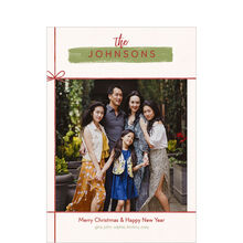 Chic Red Bow Holiday Photo Card