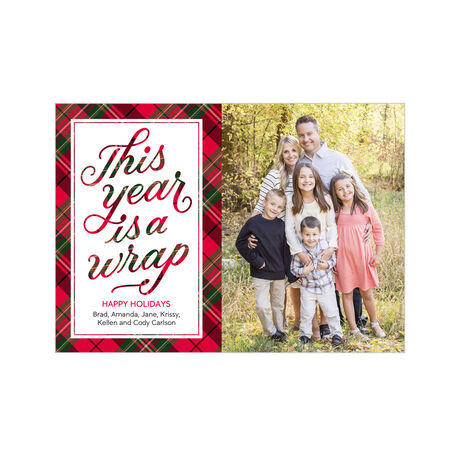 2019 Wrapped in Plaid Business Holiday Photo Card