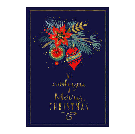 Poinsettia and Ornaments Christmas Business Hallmark Card