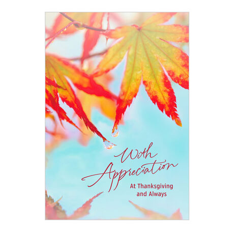 Thanksgiving Appreciation Card (Red Fall Leaves) for Business