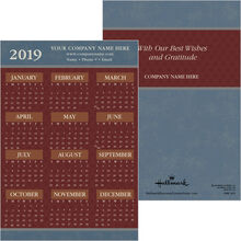 2019 Brick Red on Blue Paper Calendar Card