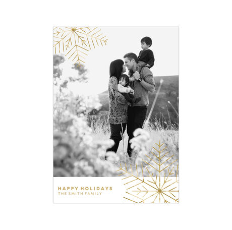 Shimmering Modern Snowflakes Holiday Business Photo Card