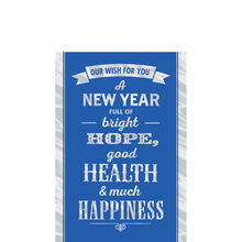 Silver New Year Wish on Blue Business Hallmark Card