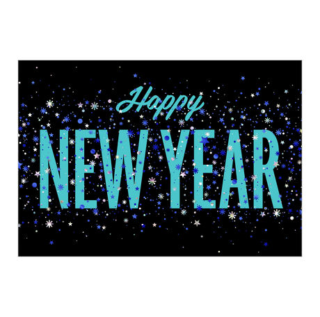 New Year Confetti on Black Business Hallmark Card