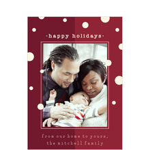 White Dots & Red Happy Holidays Photo Card