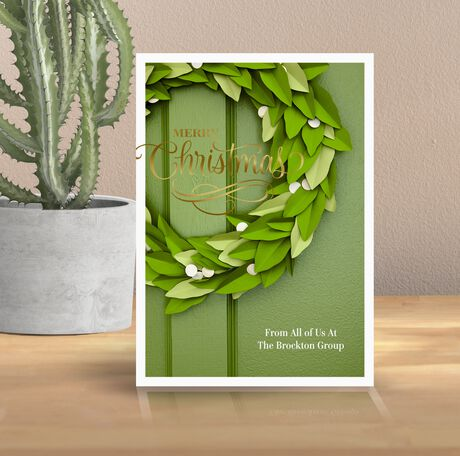 Customizable Christmas Card (Paper Wreath) for Business