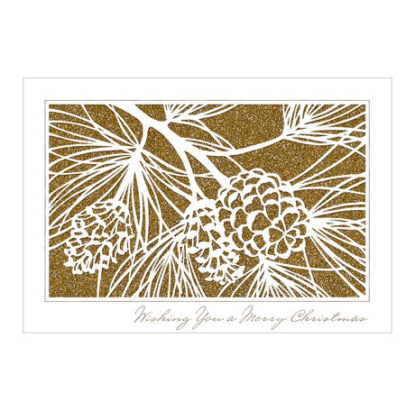 Pinecones on Gold Christmas Business Hallmark Card
