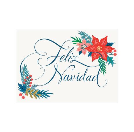 Christmas Poinsettias Spanish Business Hallmark Card