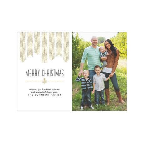Modern Golden Christmas Trees Hallmark Photo Card