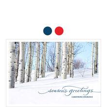 Season's Greetings Birch Trees Design Your Own Business Hallmark Card