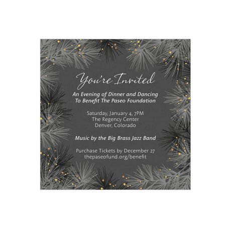 Winter Pines Design Your Own Business Hallmark Invitation