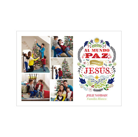 Born to Peace Spanish Hallmark Christmas Photo Collage Card