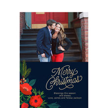 Illustrated Merry Christmas Blooms Hallmark Photo Card