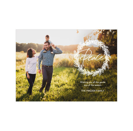 Peace in White Wreath Hallmark Full Photo Holiday Card