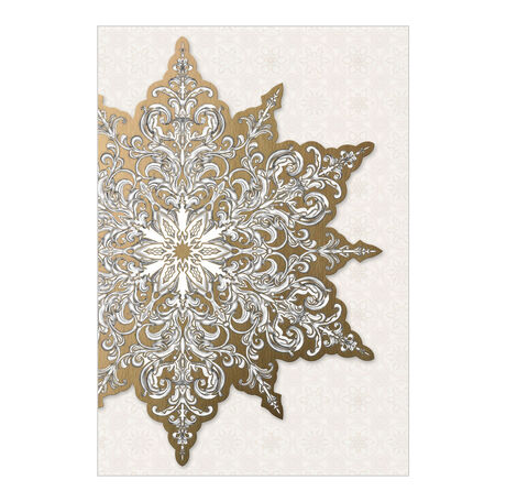 Premium Holiday Card (Embossed Gold & White Snowflake) for Business
