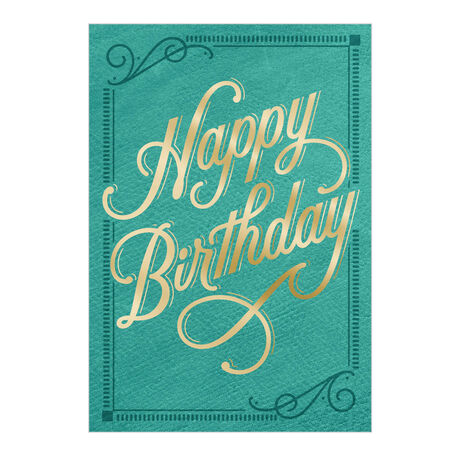 Birthday Card (Gold & Turquoise) for Business