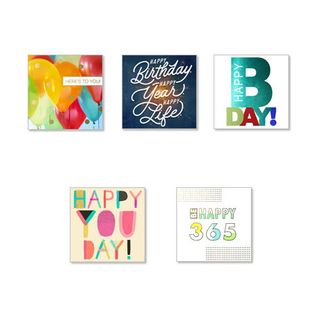 Assorted Square Birthday Cards for Business, 25 Pack