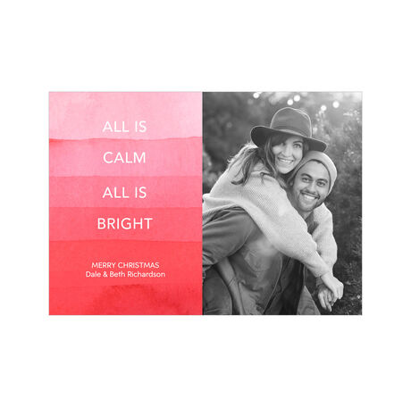 All Is Calm Red Watercolor Hallmark Christmas Photo Card