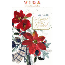 Poinsettias with Christmas Thanks Spanish Business Hallmark Card