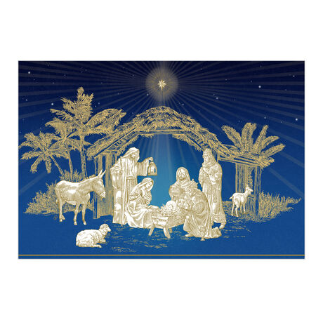 Religious Christmas Card (Golden Nativity) for Business