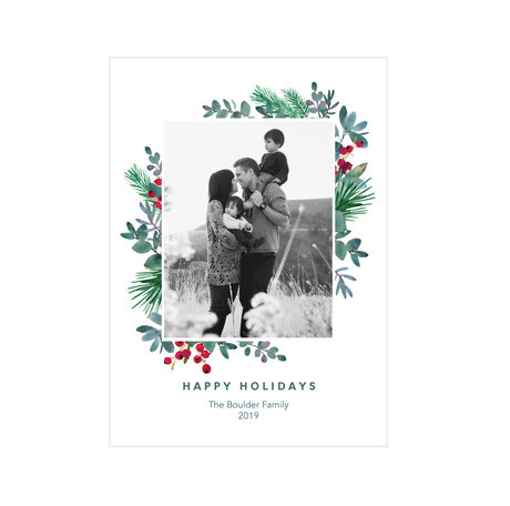 Evergreen and Berries Happy Holidays Hallmark Photo Card