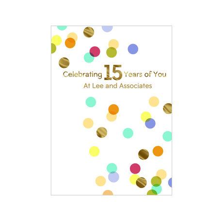 15th Work Anniversary Confetti Design Your Own Hallmark Card