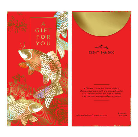 Golden Koi Fish Lai See Gift for You Red Envelopes, 6 Pack