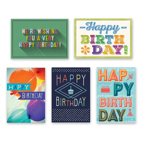 Assorted Colorful Birthday Cards for Business, 25 Pack