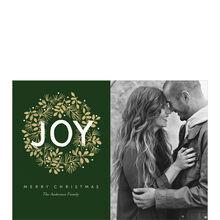 Joy Wreath on Green Hallmark Christmas Photo Card