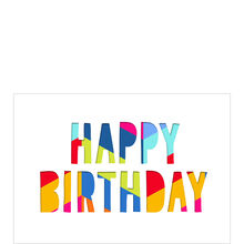 Colorful Paper-Cut Happy Birthday Business Hallmark Card
