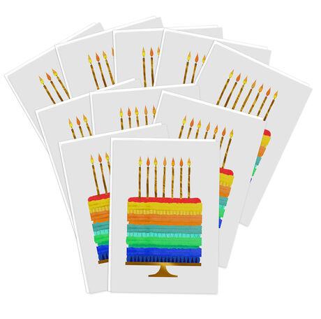 Rainbow Trim Cake Premium Birthday Card 10 Pack