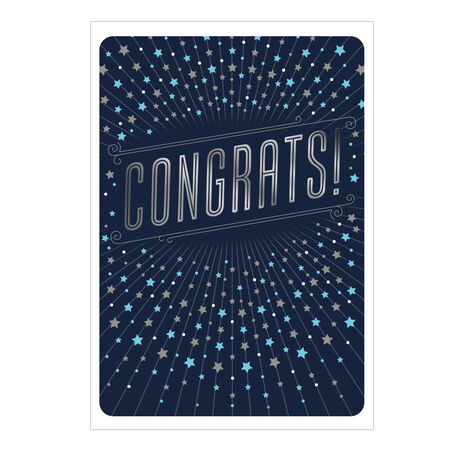 Congratulations Card (Silver Stars on Navy) for Business