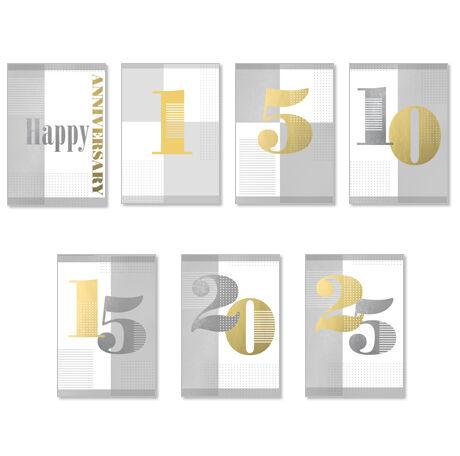 Assorted Work Milestone Anniversary Cards, 25 Pack