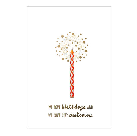Birthday Card (Red Candle & Appreciation) for Customers