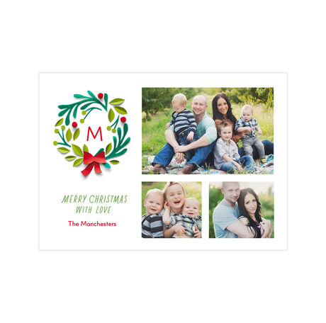 Monogram Christmas Wreath Hallmark Photo Collage Card